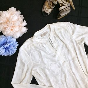 LOFT Embroidered White Sheer Long Sleeve Blouse XL